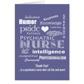 Den psykiatriska sjuksköterskan tackar dig att hälsningskort