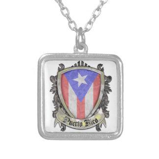 Den Puerto Rico flagga - skydda vapenskölden Silverpläterat Halsband