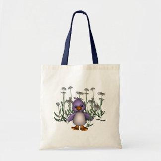 Den purpurfärgade fågeldaisyn blommar gullig toto  tygkasse