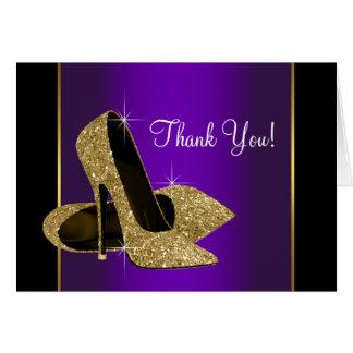 Den purpurfärgade guld- kickhälet skor tackkortet OBS kort