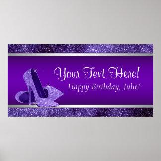 Den purpurfärgade kickhälet skor poster