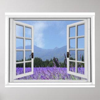 Den purpurfärgade Lavendar ängträdgården beskådar Poster