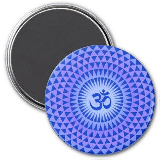 Den purpurfärgade lotusblommablommameditationen ru magnet rund 7.6 cm