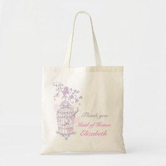 Den purpurfärgade rosa fågelbröllopmaid of honor budget tygkasse