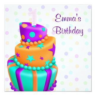 Den purpurfärgade tårtan framlägger den 1st fyrkantigt 13,3 cm inbjudningskort