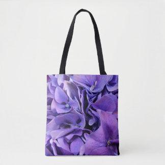 Den purpurfärgade vanlig hortensiaklassikertotot tygkasse