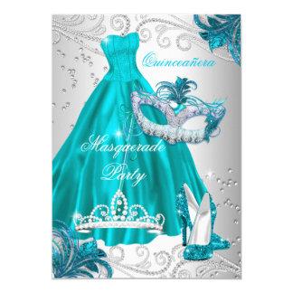 Den Quinceanera krickan maskerar blått för 12,7 X 17,8 Cm Inbjudningskort