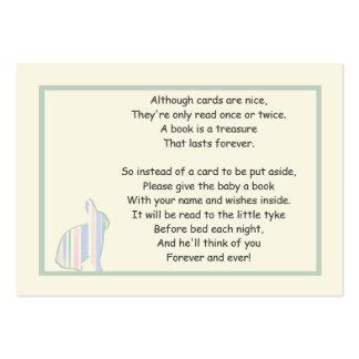 Den randiga dikt för kaninbaby showerboken - sätt set av breda visitkort