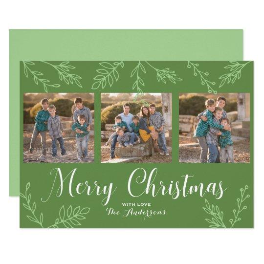 Den REDIGERBARA färghand plockade lämnar julfotoet 12,7 X 17,8 Cm Inbjudningskort