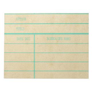 Den Retro bibliotekboken daterar rakt kortet Anteckningsblock