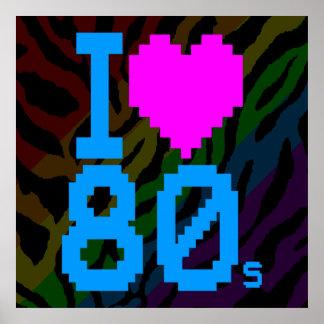 Den Retro Corey tiger80-tal älskar jag 80-tal Print