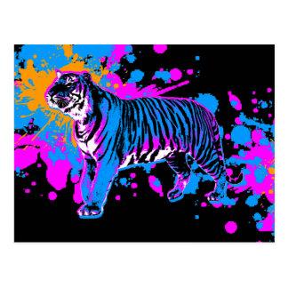 Den Retro Corey tiger80-tal målar Splattertigern Vykort