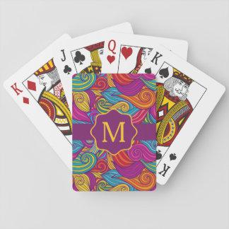 Den Retro färgrika juveln tonar Swirly vinkar Casinokort