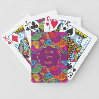 Den Retro färgrika juveln tonar Swirly vinkar Spelkort