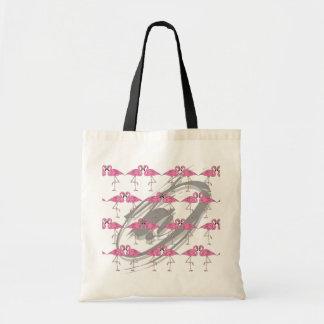 Den RETRO Flamingostrandtotot som shoppar Travel, Budget Tygkasse