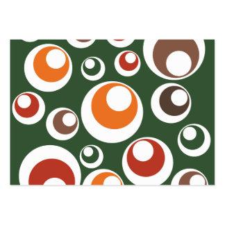 Den Retro gröna orangen som bruntet cirklar, prick Set Av Breda Visitkort