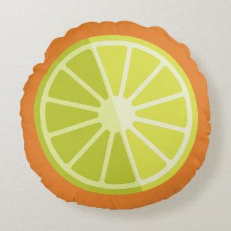 Den Retro gröna rundan för citronlimefruktorange | Rund Kudde