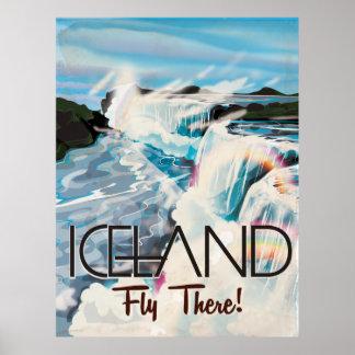 Den Retro islandet landskap reser affischen Poster