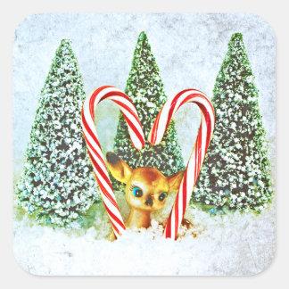 Den Retro julen lismar Fyrkantigt Klistermärke