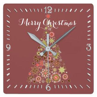 Den Retro julgranen kvadrerar väggen tar tid på Fyrkantig Klocka