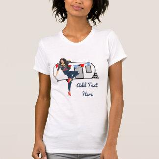 Den Retro pinupet för vintage för vitsläpsopor T-shirt