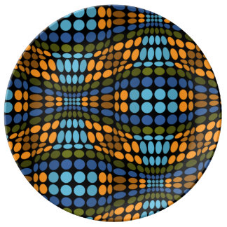Den Retro psychedelic blått och orangen pricker Porslinstallrik