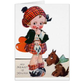 Den Retro skotska flickavalentinen tillfogar Hälsningskort