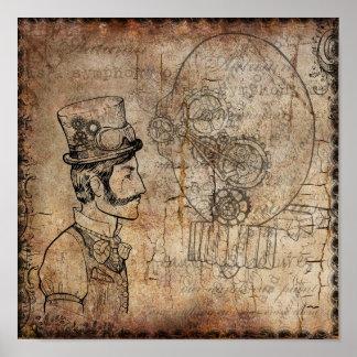 Den Retro Steampunk gentlemannen utrustar Poster