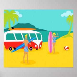 Den Retro surfaren kopplar ihop affischen Poster