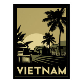 den retro vietnam South East Asia art déco reser Poster