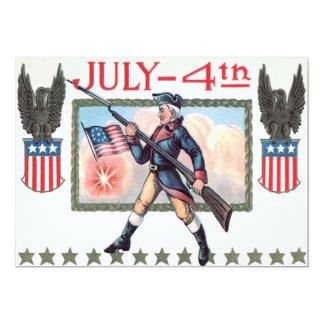 Den revolutionära krigsoldatamerikanska flaggan 12,7 x 17,8 cm inbjudningskort