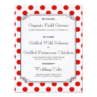 Den röd och vitpolkaen pricker 10,8 x 14 cm inbjudningskort