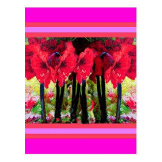 Den röda amaryllisen blommar gåvor vid Sharles Vykort