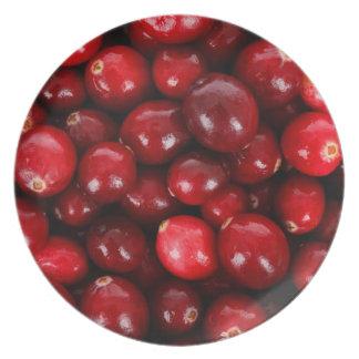 den röda cranberryen pläterar tallrik