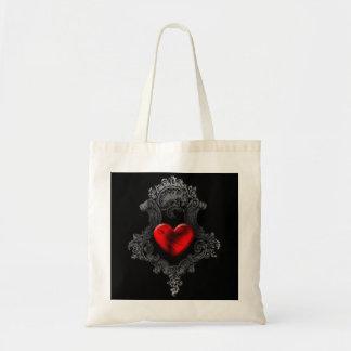 Den röda Goth hjärtatotot hänger lös Budget Tygkasse