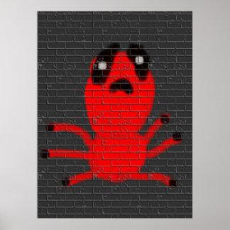 Den röda grafitti för målning för spindelbruntvägg poster