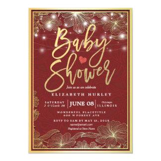 Den röda & guld- blom- ramen stränger ljusbaby 12,7 x 17,8 cm inbjudningskort
