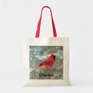 Den röda huvudsakliga fågeln hänger lös budget tygkasse