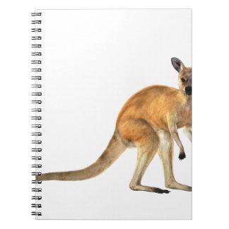 Den röda kängurun i sida beskådar anteckningsbok