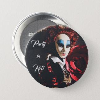 Den röda karnevalet maskerar i Venedig, italien Mellanstor Knapp Rund 7.6 Cm