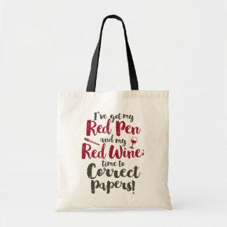 Den röda lärare skrivar rött vin budget tygkasse