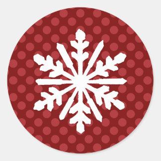 Den röda modet pricker snowflaken - cirkla runt klistermärke