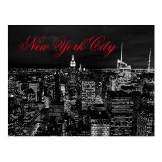 Den röda New York City nattsvarten & vit skrivar Vykort