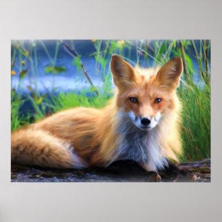 Den röda räven som lägger i gräsdjurlivet, poster