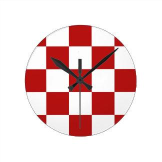 Den röda Retro middagen & vitcheckers tar tid på Rund Klocka