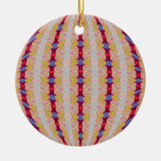 den röda rosett band cirklar julgransprydnad keramik