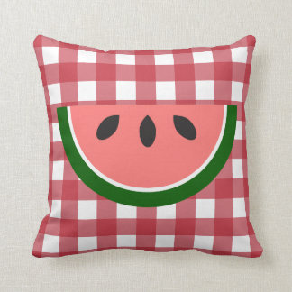 Den röda rutiga vattenmelonen kudder dekorativ kudde