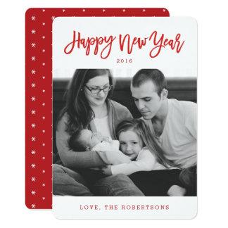Den röda snyggten skrivar gott nytt årfotokortet 12,7 x 17,8 cm inbjudningskort
