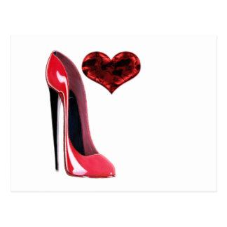 Den röda stiletten skor och hjärta 3D Vykort