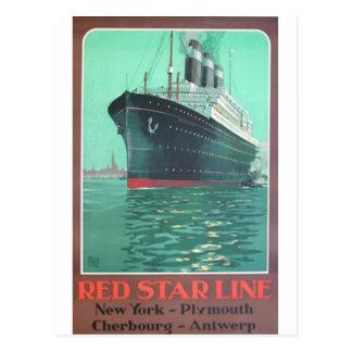 Den röda stjärnan fodrar den Titanic gammala Vykort